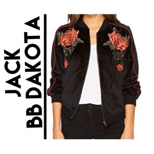 BB Dakota Velvet Retro Embroidered Bomber Jacket L
